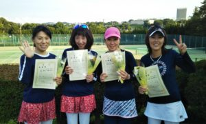 第1437回 百草テニスガーデン 女子チーム戦準優勝:石井・吉田・浅野・岡西チーム