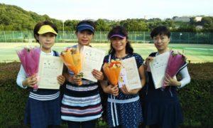 第1437回 百草テニスガーデン 女子チーム戦優勝:白石・原田・山田・河畑チーム