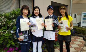 第1441回 緑ヶ丘テニスガーデン 女子チーム戦準優勝:栗沢・若林・大津・並河チーム