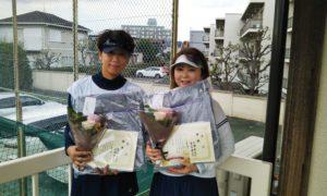 第1464回 関町ローンテニスクラブ 女子ダブルス優勝:鷲島・百瀬ペア