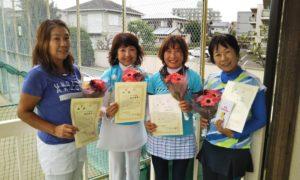 第1469回 関町ローンテニスクラブ 女子チーム戦優勝:西村・杉田・宇佐見・秦チーム