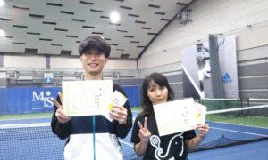 第229回 MTSテニスアリーナ三鷹 ナイターミックスダブルス優勝:西垣・小見野ペア