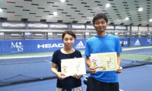 第233回 MTSテニスアリーナ三鷹 ナイターミックスダブルス準優勝:溝渕・西村ペア