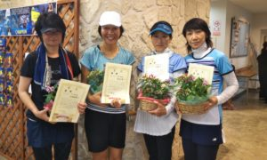 第1456回 緑ヶ丘テニスガーデン 女子チーム戦優勝:宇津木・古山・古瀬・高梨チーム
