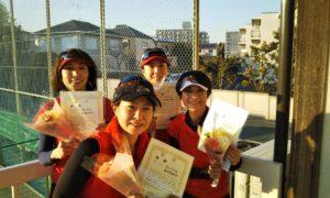 第1519回 関町ローンテニスクラブ 女子チーム戦優勝:原田・髙橋・松本・西村チーム