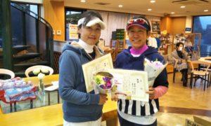 第1521回 緑ヶ丘テニスガーデン 女子ダブルス優勝:書上・奧野ペア