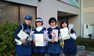 第1531回 緑ヶ丘テニスガーデン 女子チーム戦準優勝:久保田・小幡・西川・藤巻チーム
