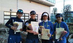 第1531回 緑ヶ丘テニスガーデン 女子チーム戦優勝:堀・高橋・牛島・横江チーム