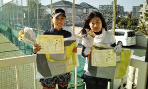第1533回 関町ローンテニスクラブ 女子ダブルス優勝:佐藤・柿坂ペア