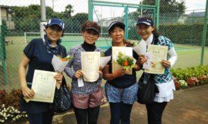 第1574回 緑ヶ丘テニスガーデン 女子チーム戦準優勝:原・森脇・富岡・池本チーム