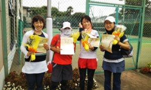 第1574回 緑ヶ丘テニスガーデン 女子チーム戦優勝:加藤・合田・中村・深作チーム