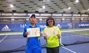 第253回 MTSテニスアリーナ三鷹 ナイターミックスダブルス優勝:野口・小見野ペア