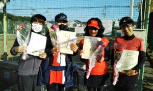 第1619回 関町ローンテニスクラブ 女子チーム戦準優勝:小鴨・原田・飯高・加藤チーム