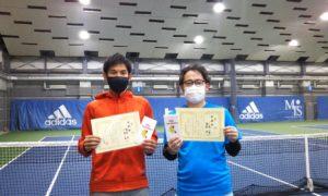 第257回 MTSテニスアリーナ三鷹 ナイター男子ダブルス準優勝:藤原・小島ペア