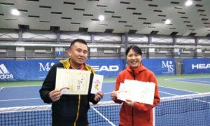 第258回 MTSテニスアリーナ三鷹 ナイターミックスダブルス準優勝:高見・田中ペア