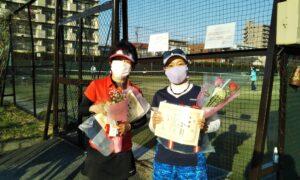 第1661回 桜台テニスクラブ 女子ダブルス準優勝:稲垣・北ペア